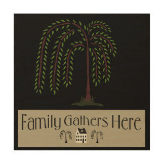 Family Gathers Here Wood Wall Art 12x12 Wood Prints