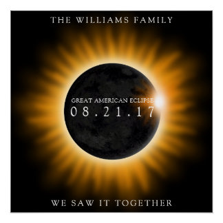 Family Great American Eclipse Personalized Poster