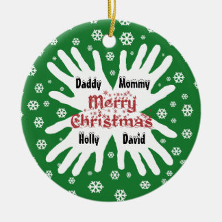 Family Hand Print Snowflake Christmas Ornament