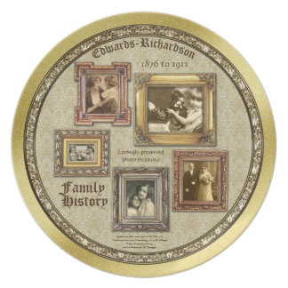Family History Antique Photo Frames Gold Collage Party Plates