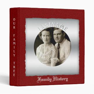 Family History Genealogy | Custom Photo Red Silver 3 Ring Binder