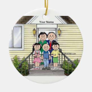 Family Home, Couple - One Boy, Two Girls Ceramic Ornament