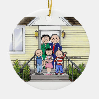 Family Home, Couple - Two Boys, One Girl Ceramic Ornament