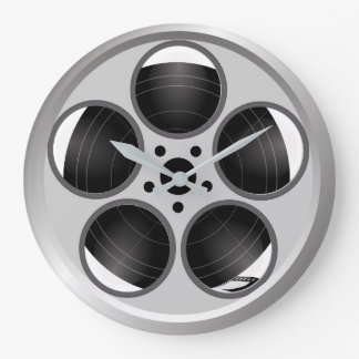 Family Home Theater Movie Film Reel Large Clock