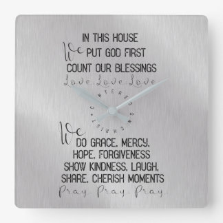 Family In this House, Centered on Christ Square Wall Clock