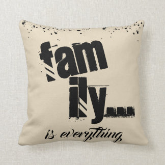 Family Is Everything Beige Grunge Style - Throw Pillow