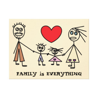 FAMILY is EVERYTHING Cute Stick Figure Family Canvas Print