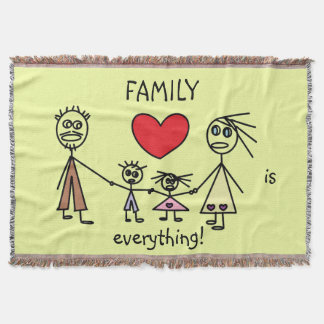 FAMILY is EVERYTHING Cute Stick Figure Family Throw Blanket