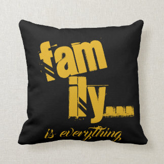 Family Is Everything Mustard/Black Grunge Style - Throw Pillow