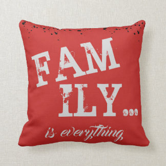 Family Is Everything Red Grunge Style - Throw Pillow