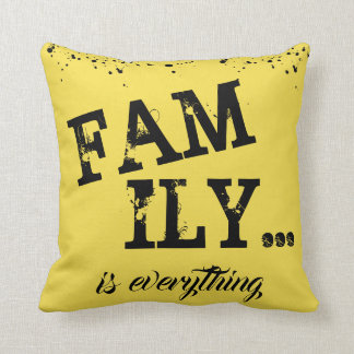 Family Is Everything Yellow Grunge Style - Throw Pillow