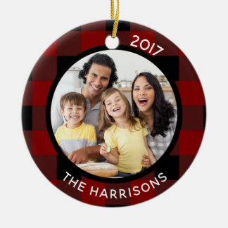 FAMILY IS LOVE (on back) Red & Black Plaid 2-Photo Ceramic Ornament