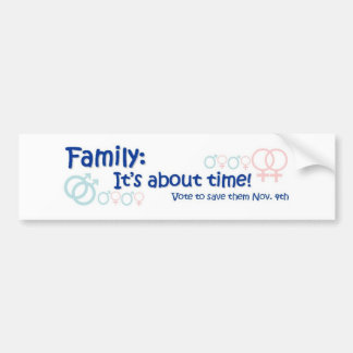 Family-It's About Time No on 8 Bumper Sticker