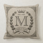 Family Logo Monogram Burlap Look Pillow