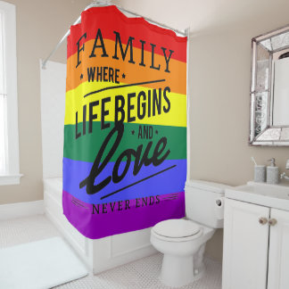Family love pride rainbow Shower Curtain