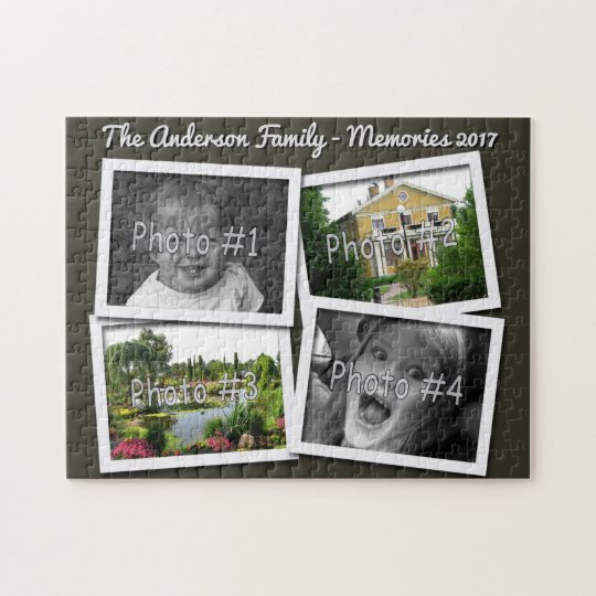 Family Memories 4 x Custom Photos Challenge Black Jigsaw Puzzle