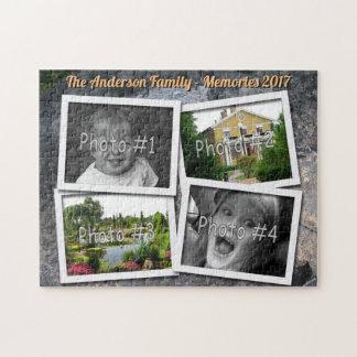 Family Memories 4 x Custom Photos Challenge Rock Jigsaw Puzzle