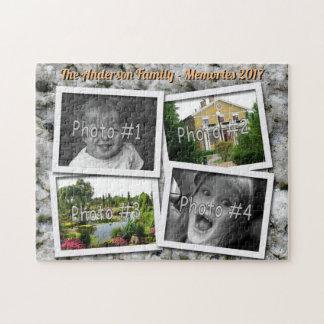 Family Memories 4 x Custom Photos on Granite Rock Jigsaw Puzzle