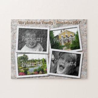 Family Memories 4 x Custom Photos on Rock Texture Jigsaw Puzzle