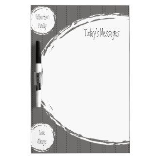 Family Message Dry Erase Board Kitchen Gray Circle
