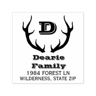 Family Monogram Bold Return Address | Deer Antlers Self-inking Stamp