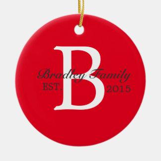 Family Monogram Custom Photo and Name Ceramic Ornament
