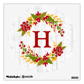 Family Monogram Decor Holly Berries Wreath Wall Decal