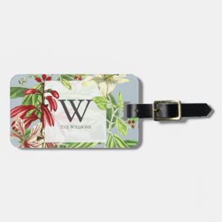 Family Monogram Floral Botanical Greenery Luggage Tag