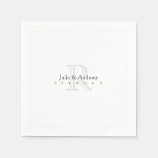 family monogram (names/initial) on white standard paper napkin