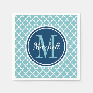 Family Monogram | Navy Blue and Aqua Disposable Napkin