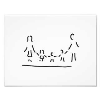 family mother father of three children photo print