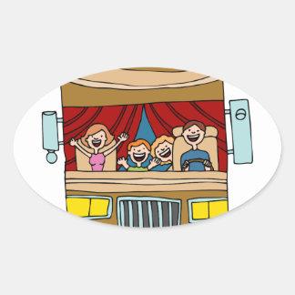 Family Motor Home Vacation Cartoon Oval Sticker