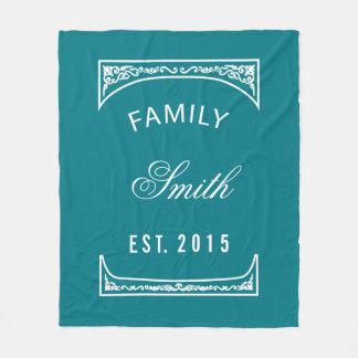 Family Name Biscay Bay Elegant Personalized Fleece Blanket