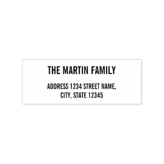 Family Name Bold Text Return Address Rubber Stamp