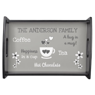 Family name coffee tea hot chocolate grey serving tray