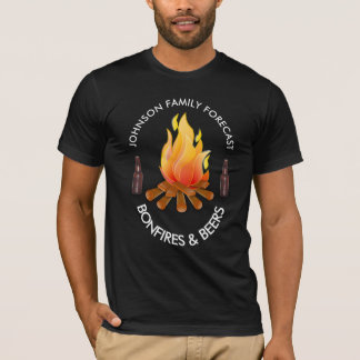 """(Family Name) Forecast: Bonfires and Beers"" T-Shirt"