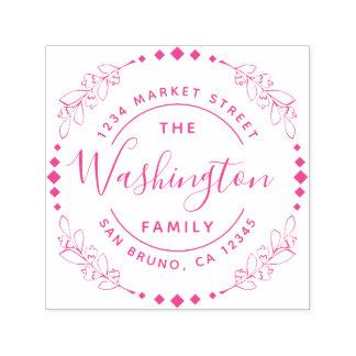 Family Name | Fuchsia Floral Round Return Address Self-inking Stamp