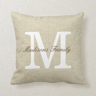 Family Name Monogram Throw Pillow