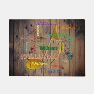 Family Name Monogram Word Cloud Music Note Rustic Doormat