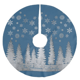 Family Name Silver and Blue Winter Wonderland Brushed Polyester Tree Skirt