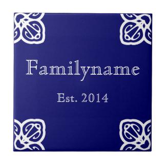 Family Name - Spanish White on Blue Ceramic Tile
