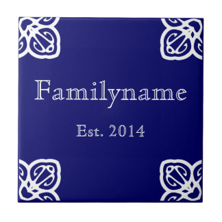 Family Name - Spanish White on Blue Tile