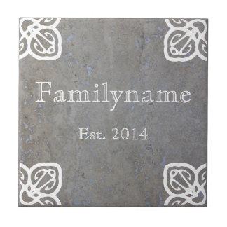 Family Name - Spanish White on Travertine Ceramic Tile