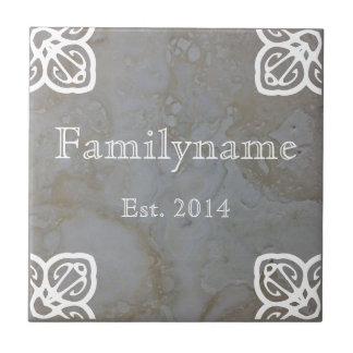 Family Name - Spanish White on Travertine Tiles