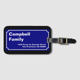 family name street sign luggage tag