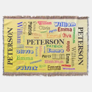 Family Name Word Cloud Throw Blanket