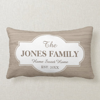 Family New Home Established Year White and Wood Lumbar Pillow