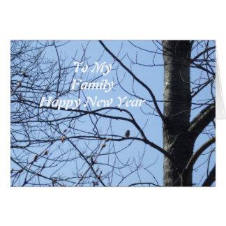 Family New Year Greeting-bird in tree Card