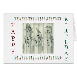 **FAMILY OF CUTE SNOWMEN** BIRTHDAY AT CHRISTMAS CARD
