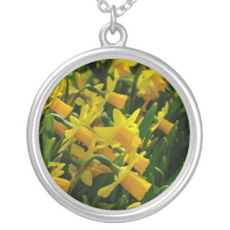 Family Of Daffodils Silver Plated Necklace